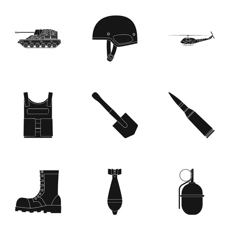 holster: Military and army set icons in black style. Big collection of military and army vector symbol stock illustration Illustration