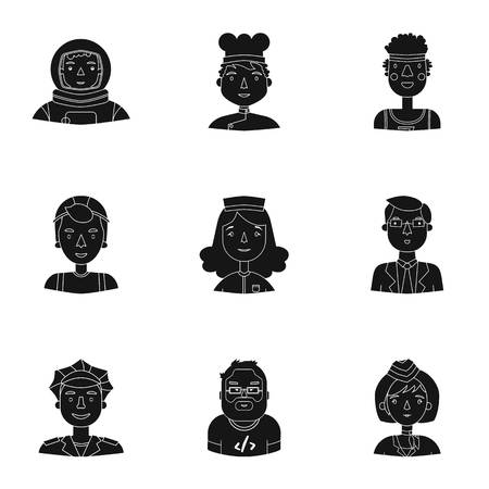 black people: People of different profession set icons in black style. Big collection of people of different profession vector symbol stock illustration