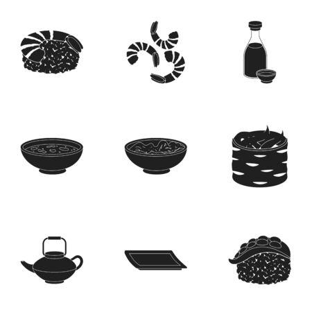 tetsubin: Sushi set icons in black style. Big collection of sushi vector symbol stock illustration
