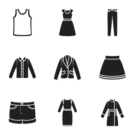 tunic: Clothes set icons in black style. Big collection of clothes vector symbol stock illustration