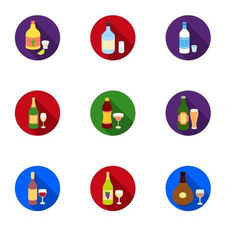 Alcol imposta icone in stile piano. Grande collezione di illustrazioni vettoriali simbolo di alcol