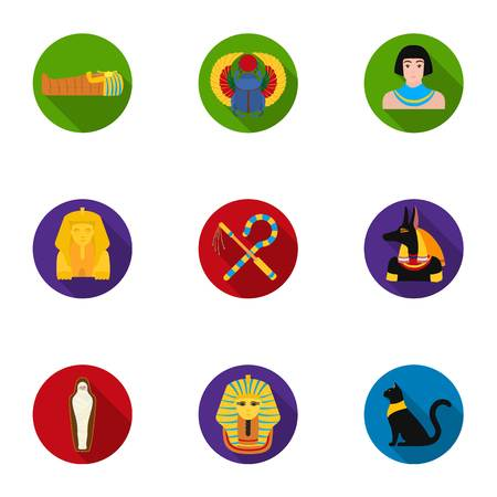 cat goddess: Ancient Egypt set icons in flat style. Big collection of ancient Egypt vector symbol stock illustration Illustration