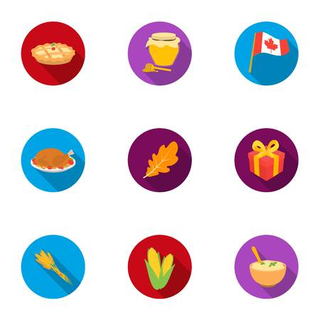 Canadian Thanksgiving Day set icons in flat style. Big collection of canadian Thanksgiving Day vector symbol stock illustration