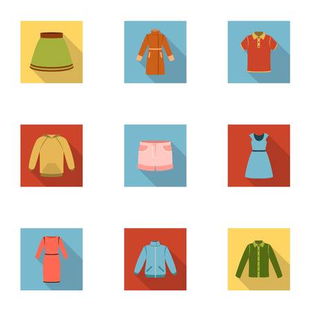 Clothes set icons in flat style. Big collection of clothes vector symbol stock illustration Çizim