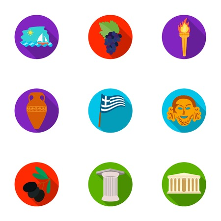 Greece set icons in flat style. Big collection of Greece vector symbol stock illustration Иллюстрация