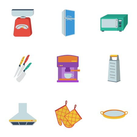 Kitchen set icons in flat style. Big collection of kitchen vector symbol stock illustration