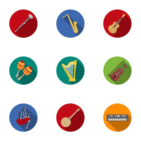 Musical instruments set icons in flat style. Big collection of musical instruments vector symbol stock illustration