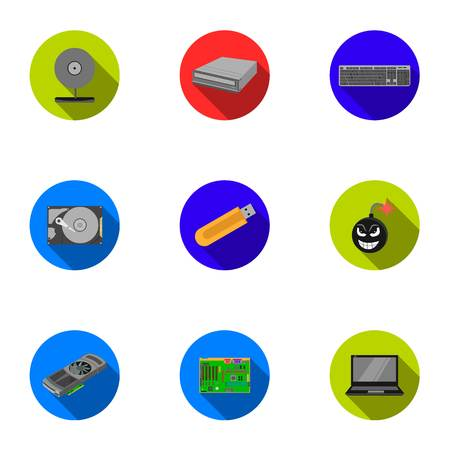 computer icons: Personal computer set icons in flat style. Big collection of personal computer vector symbol stock illustration Illustration