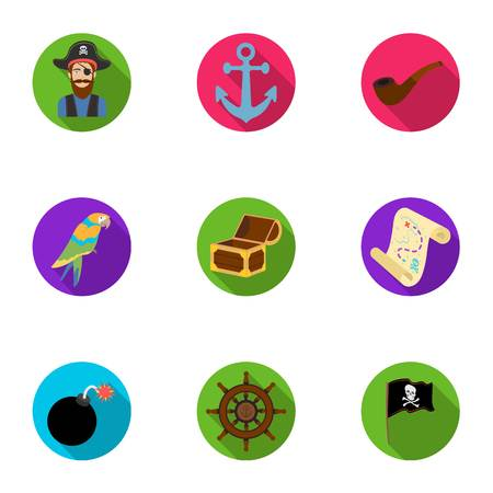 Pirates set icons in flat style. Big collection of pirates vector symbol stock illustration