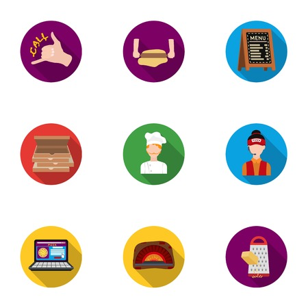 woodfired: Pizza and pizzeria set icons in flat style. Big collection of pizza and pizzeria vector symbol stock illustration Illustration