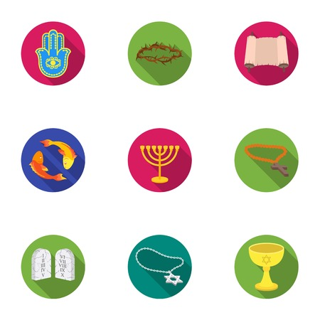 torii: Religion set icons in flat style. Big collection of religion vector symbol stock illustration