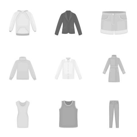tunic: Clothes set icons in monochrome style. Big collection of clothes vector symbol stock illustration