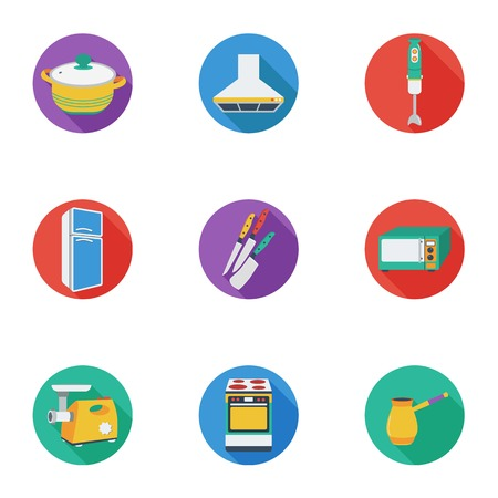 Kitchen set icons in cartoon style. Big collection of kitchen vector symbol stock illustration Illustration