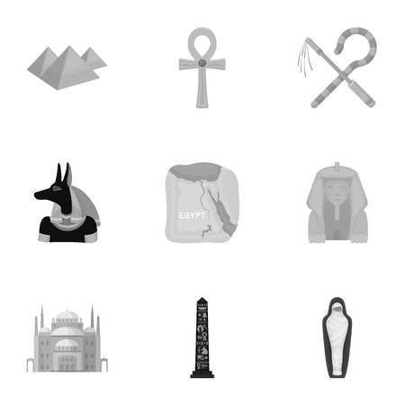 cat goddess: Ancient Egypt set icons in monochrome style. Big collection of ancient Egypt vector symbol stock illustration
