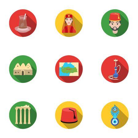 saz: Turkey set icons in flat style. Big collection of Turkey vector symbol stock illustration Illustration