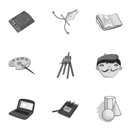 stylus: Artist and drawing set icons in monochrome style. Big collection of artist and drawing vector symbol stock illustration Illustration