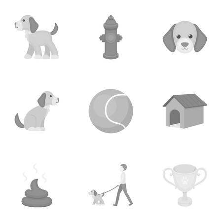 faeces: Dog equipment set icons in monochrome style. Big collection dog equipment vector symbol stock illustration Illustration