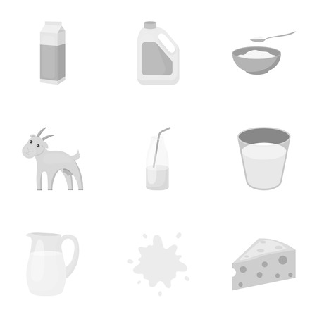 cottage cheese: Milk set icons in monochrome style. Big collection of milk vector symbol stock illustration