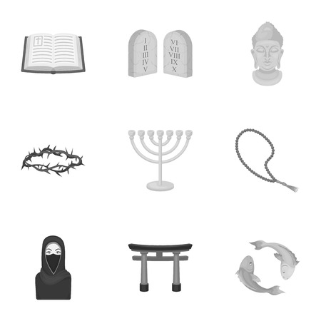 niqab: Religion set icons in monochrome style. Big collection of religion vector symbol stock illustration Illustration