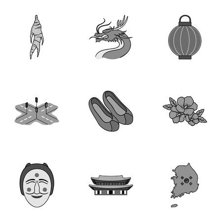 gat: South Korea set icons in monochrome style. Big collection of South Korea vector symbol stock illustration Illustration
