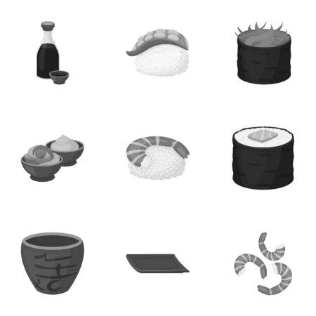 tetsubin: Sushi set icons in monochrome style. Big collection of sushi vector symbol stock illustration Illustration