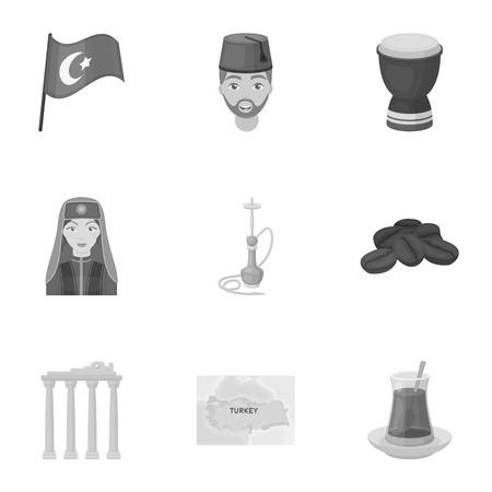 saz: Turkey set icons in monochrome style. Big collection of Turkey vector symbol stock illustration Illustration