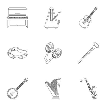 gaita: Musical instruments set icons in outline style. Big collection of musical instruments vector symbol stock illustration Vectores