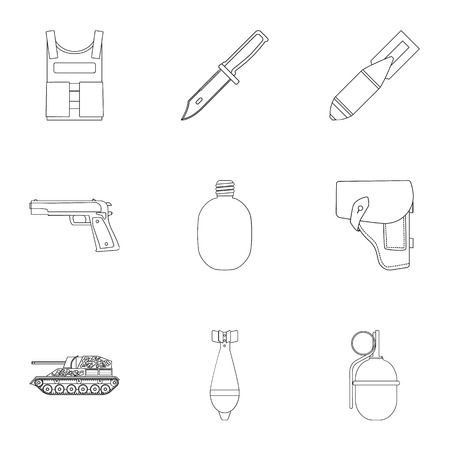 vehicle combat: Military and army set icons in outline style. Big collection of military and army vector symbol stock illustration
