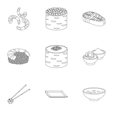 tetsubin: Sushi set icons in outline style. Big collection of sushi vector symbol stock illustration