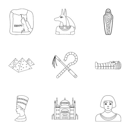 flail: Ancient Egypt set icons in outline style. Big collection of ancient Egypt vector symbol stock illustration