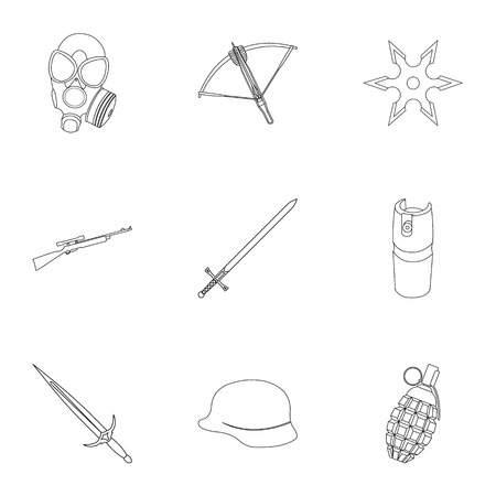 army gas mask: Weapon set icons in outline style. Big collection of weapon vector symbol stock illustration