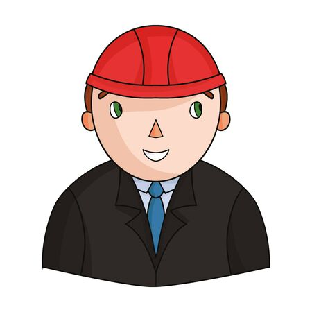arquitecto caricatura: Architect icon in cartoon style isolated on white background. Architect symbol stock vector illustration.