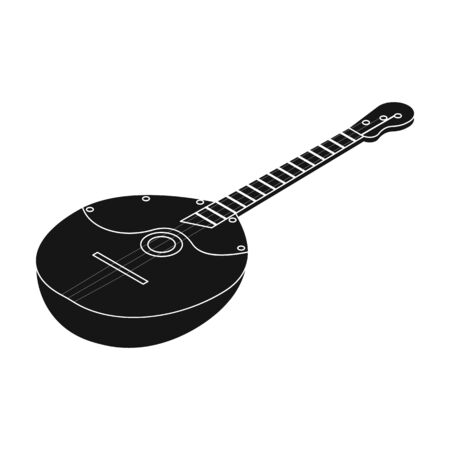 Domra icon in black style isolated on white background. Musical instruments symbol stock vector illustration.