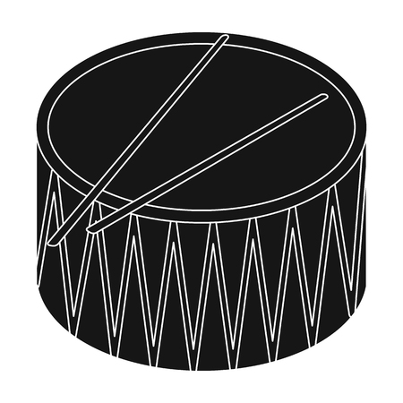 Drum icon in black style isolated on white background. Musical instruments symbol stock vector illustration.