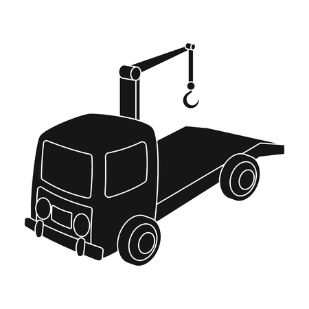 Tow truck icon in black style isolated on white background. Parking zone symbol stock vector illustration.
