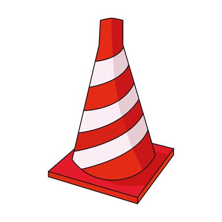 arquitecto caricatura: Traffic cone icon in cartoon style isolated on white background. Architect symbol stock vector illustration. Vectores
