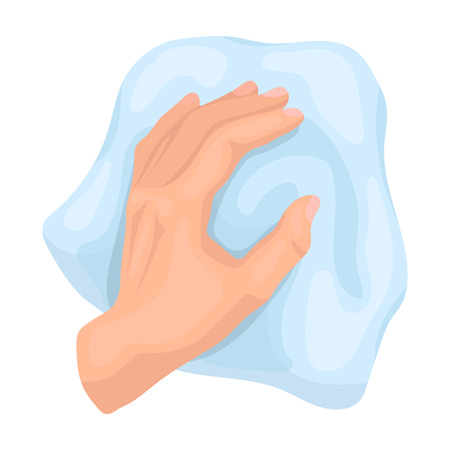 scrubbing: Cleaning by rag icon in cartoon style isolated on white background. Cleaning symbol stock vector illustration.