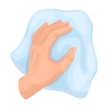 Limpieza por el icono de trapo en estilo de dibujos animados aislado sobre fondo blanco. Ilustración de vector stock de símbolo de limpieza.