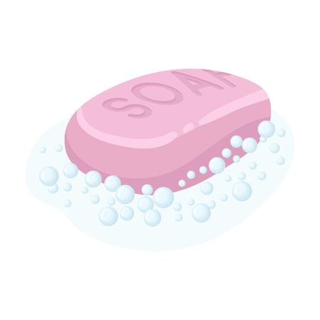 Soap icon in cartoon style isolated on white background. Cleaning symbol stock vector illustration.