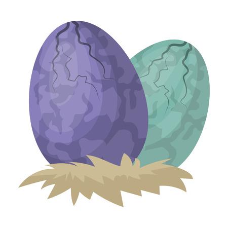 漫画のスタイルの白い背景で隔離の恐竜アイコンの卵。恐竜や先史時代のシンボル株式ベクトル イラスト。