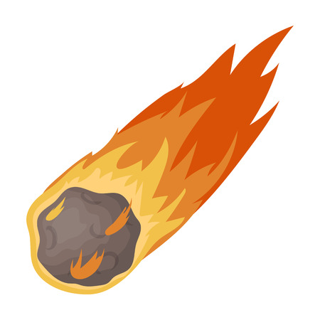 Flame meteorite icon in cartoon style isolated on white background. Dinosaurs and prehistoric symbol stock vector illustration.