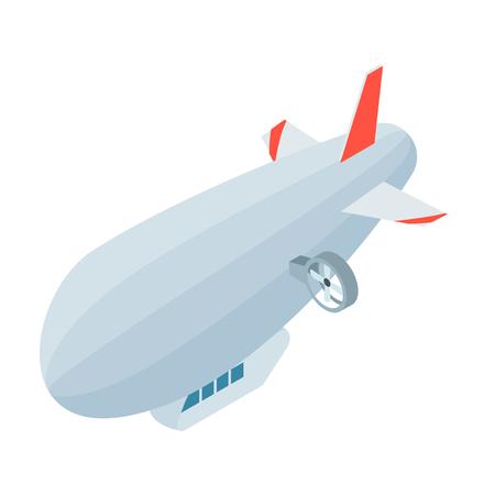 blimp: Airship icon in cartoon style isolated on white background. Transportation symbol stock vector illustration. Illustration