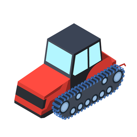tracked: Tracked tractor icon in cartoon style isolated on white background. Transportation symbol stock vector illustration.