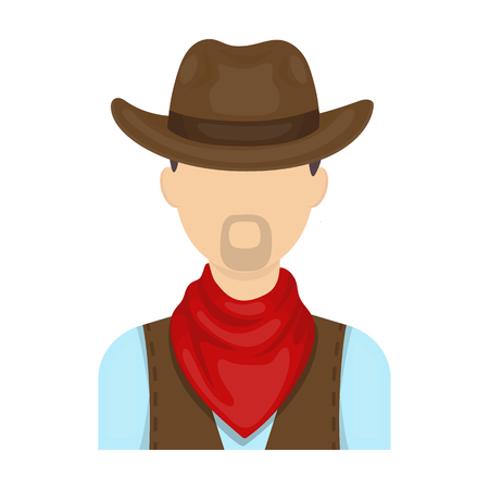 Cowboy icon in cartoon style isolated on white background. Rodeo symbol stock vector illustration.