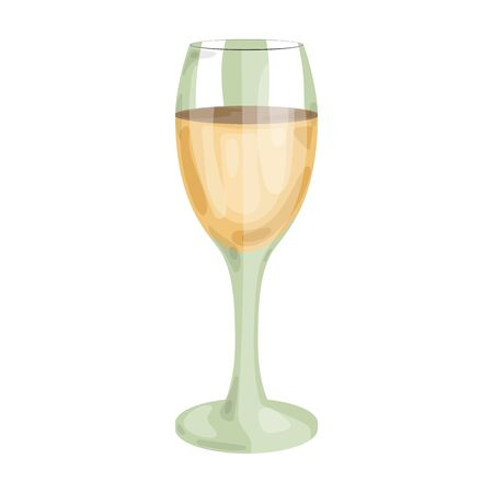 Glass of white wine icon in cartoon style isolated on white background. Wine production symbol stock vector illustration.