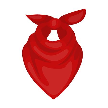 漫画のスタイルの白い背景で隔離のカウボーイ バンダナ アイコン。ロデオ シンボル株式ベクトル イラスト。