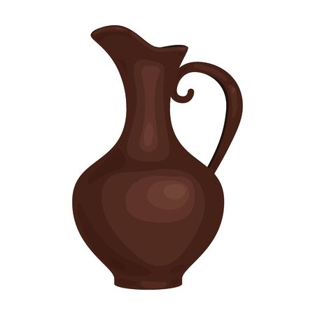 Clay jug of wine icon in cartoon style isolated on white background. Wine production symbol stock vector illustration.