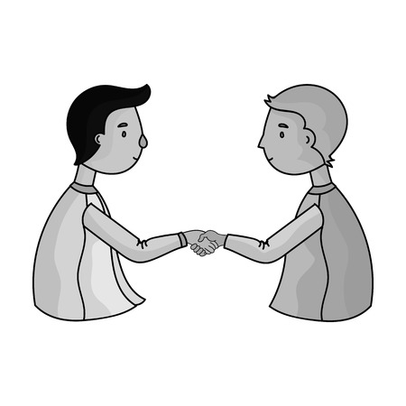 Handshaking of businessmen icon in monochrome style isolated on white background. Conference and negetiations symbol stock vector illustration.