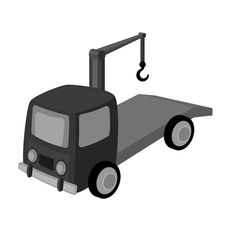 Tow Truck Icon In Cartoon Style Isolated On White Background