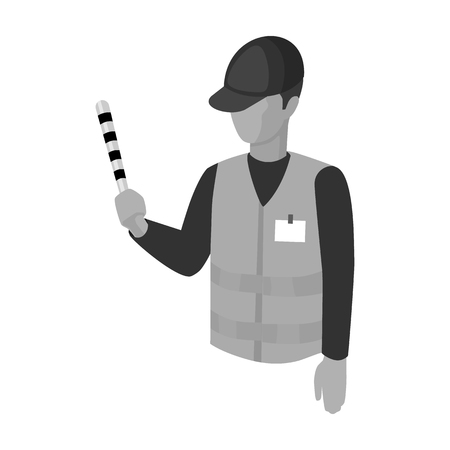 Parking attendant icon in monochrome style isolated on white background. Parking zone symbol stock vector illustration.